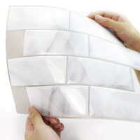 Peel and Stick Tile | White Stone | EX-PM4001