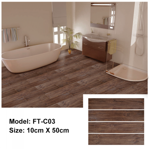 Peel and Stick Floor Tile | FT-C03 | Dark Brown Wood Texture